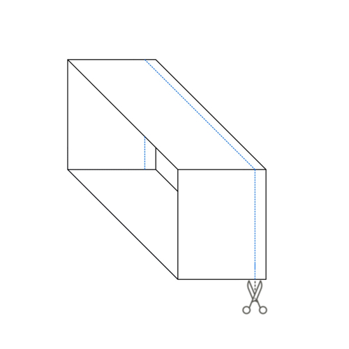 Diagram of cut lines on cardboard box