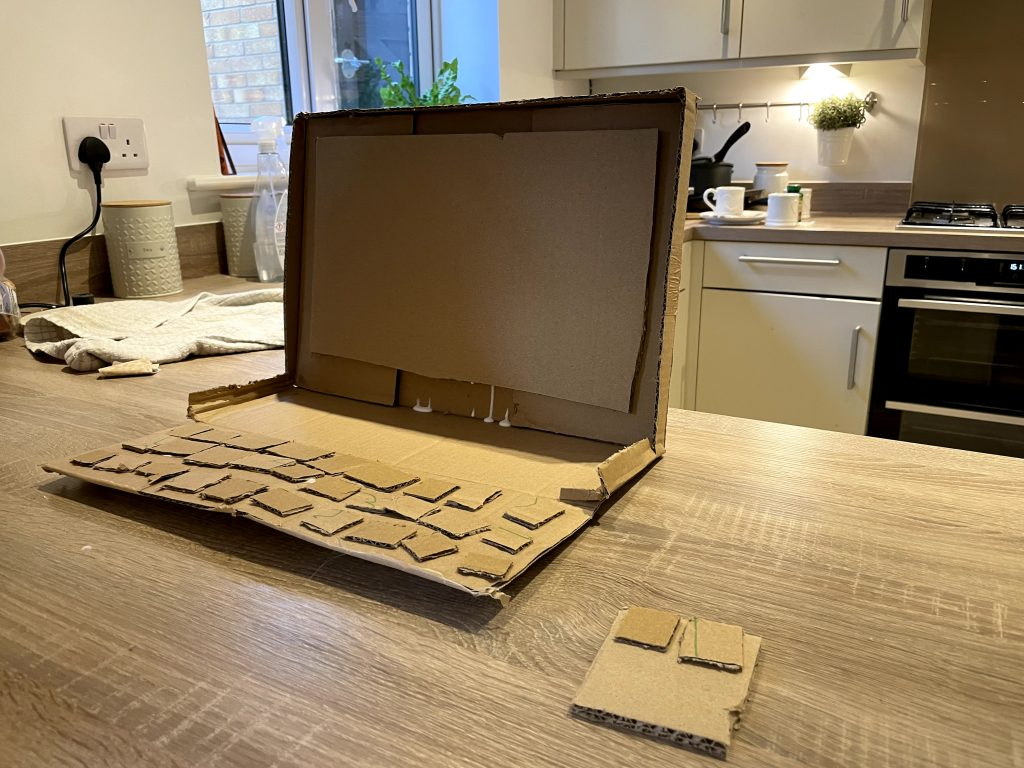 Completed laptop made from cardboard