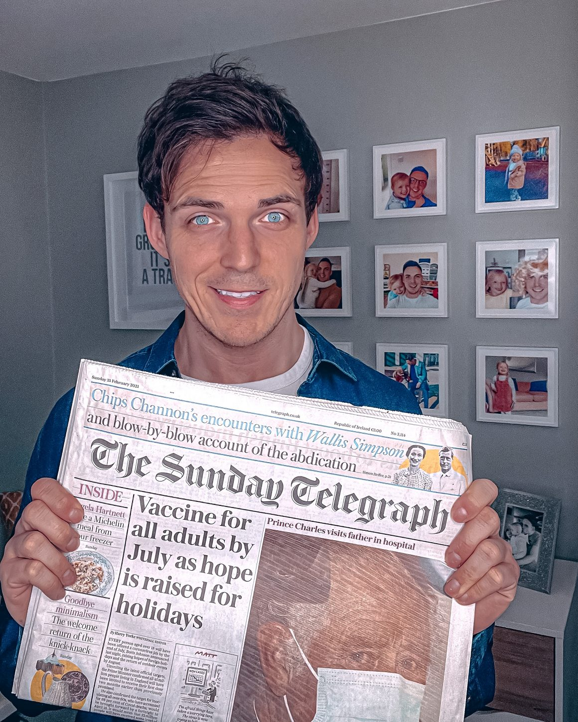 Dan holding a copy of The Sunday Telegraph