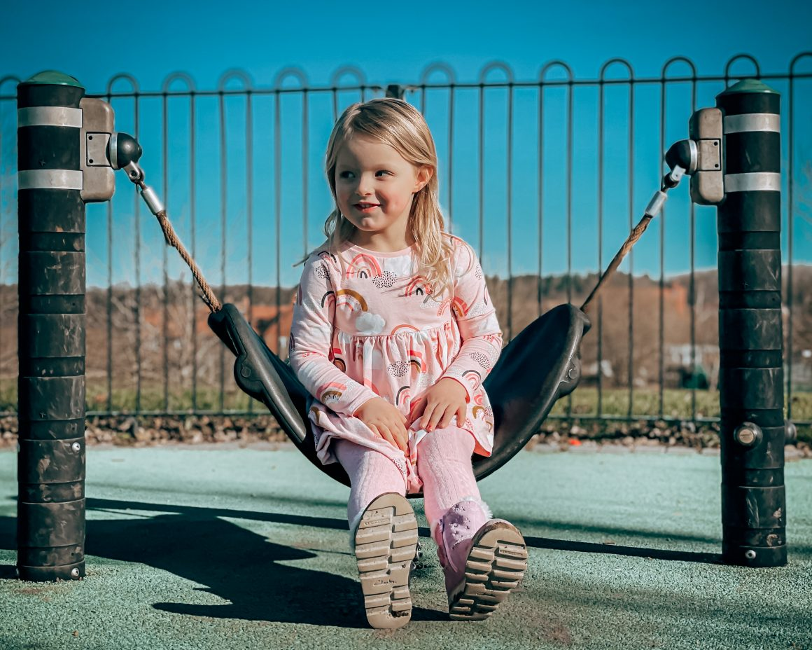 Daughter sitting on a swing